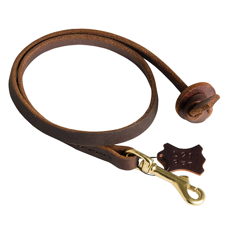 Short Leather Dog Leash with Strong Stitches
